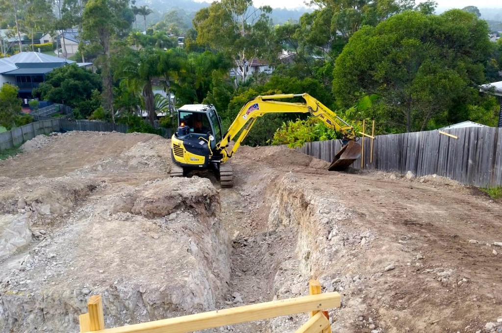 Trenching and footings excavator hire